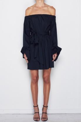 Lavanzo-tie-dress-black-front